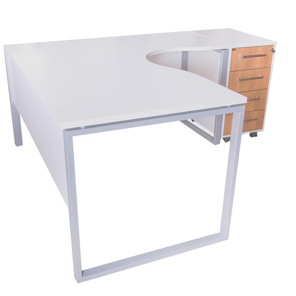 MEX: L-Shape Office Desk + 4-Drawers Mobile Pedestal, White; 160/140×80/60x75cm #BR-01/02-TBR/MP 1