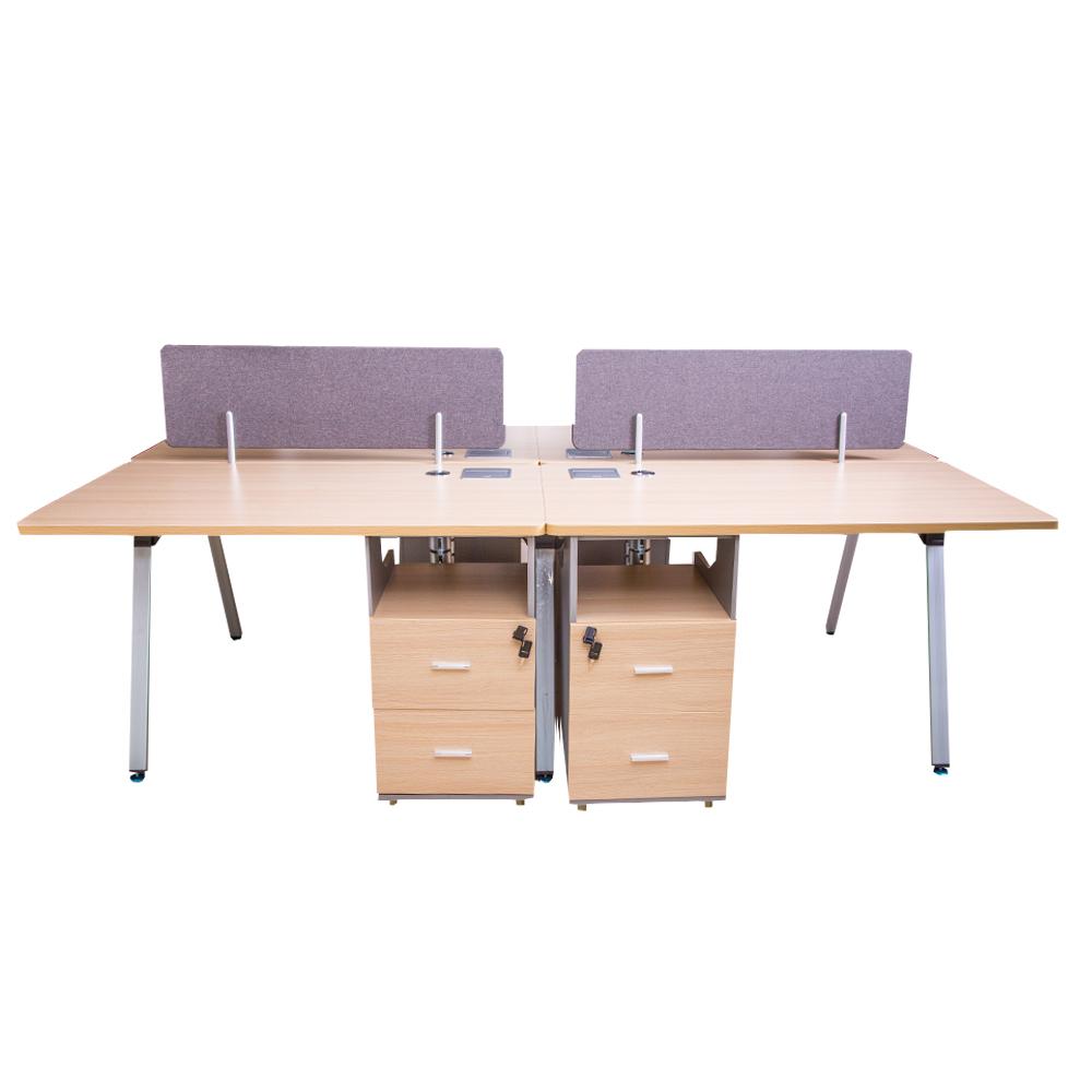 MOBI:4-Way Work Station:240x140x75cm:White Oak/Silver#7F-V46 1