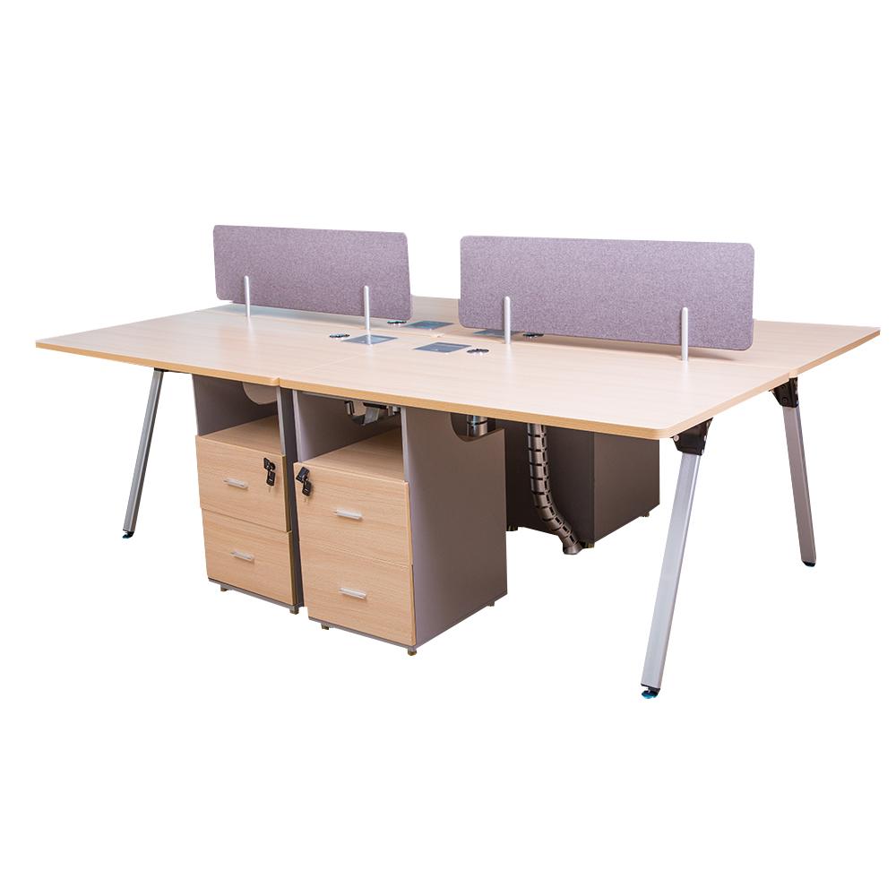 MOBI:4-Way Work Station:240x140x75cm:White Oak/Silver#7F-V46