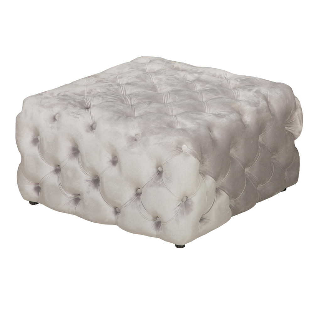 Snowy: Fabric Square Ottoman; 80x80x40cm #SF-S033