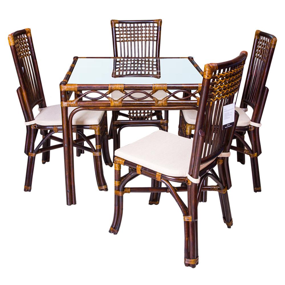 Rattan Furn: Maackia Dining Table-Glass Top(90x90x77cm)#1264 + 4 Macao Side Chairs #0332 1