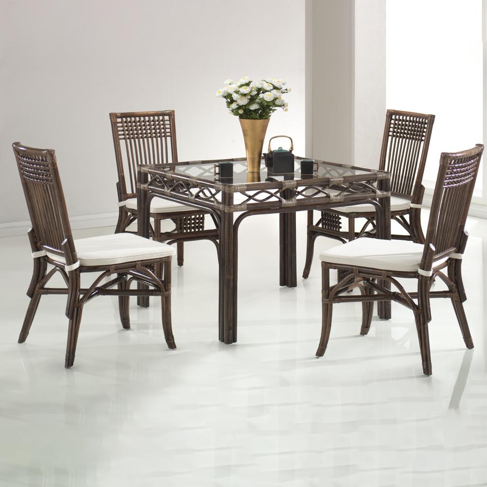 Rattan Furn: Maackia Dining Table-Glass Top(90x90x77cm)#1264 + 4 Macao Side Chairs #0332