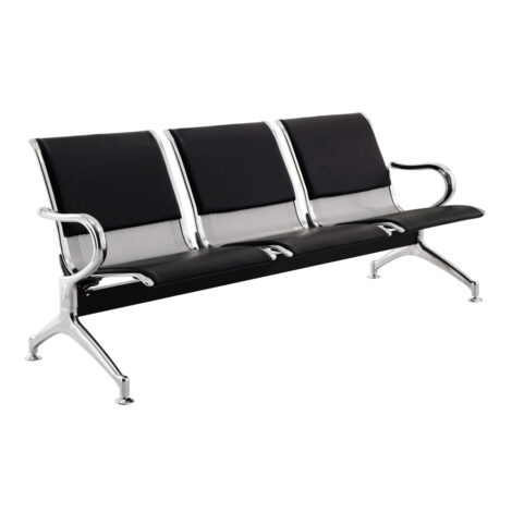 Waiting Chair : 3-Seater : (180x67x79)cm, Silver/Black 1