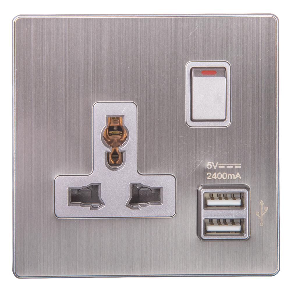 Domus: 1 Gang Switched Universal Socket with 2 USB Ports; 13A, 250V #Q5B1K/USB2D GN-13 1