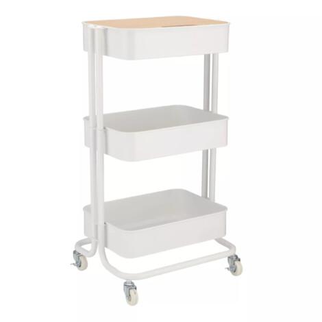 Ello 3-Tier Storage Cart; (43x35x78)cm, White/Brown 1