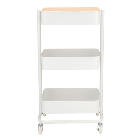 Ello 3-Tier Storage Cart; (43x35x78)cm, White/Brown