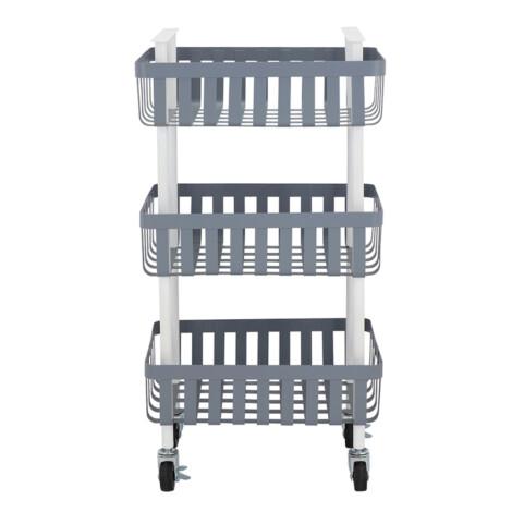 Luppio 3-Tier Storage Cart; (40x27.8x75.5)cm, Dark Grey/Wite