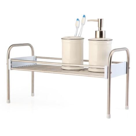 Rocky 1 Tier Storage Shelf: (15x38.95x20.5)cm, Silver