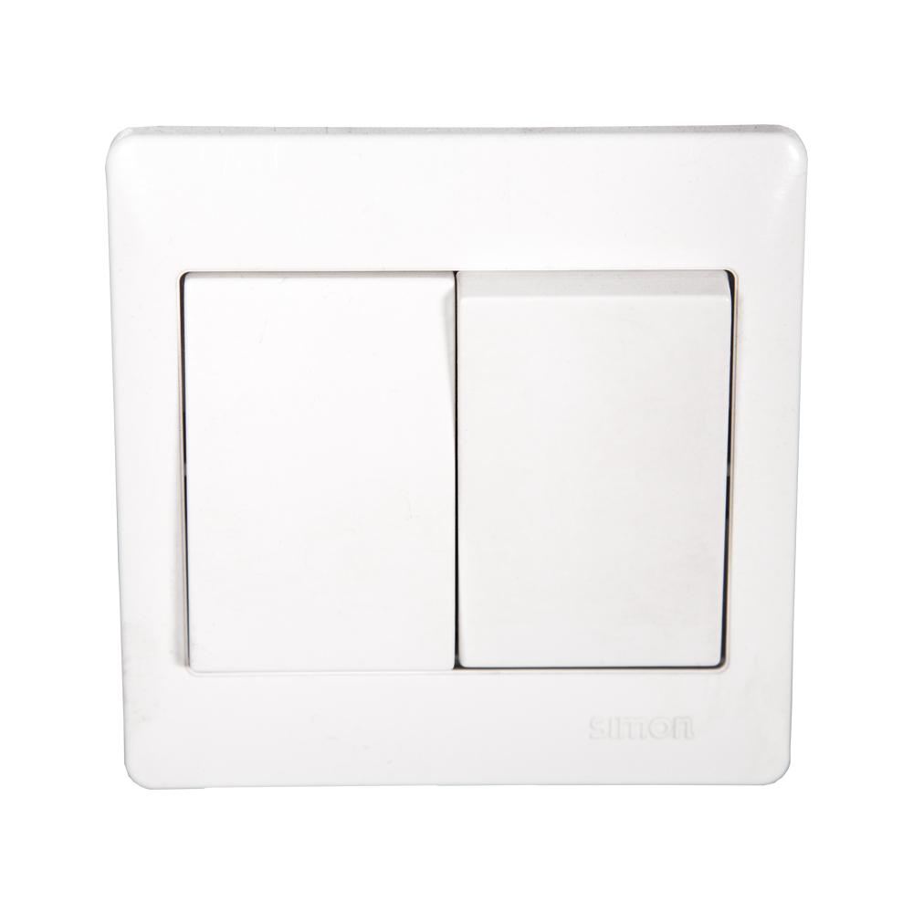 SIMON Switch, 2-Gang 1-Way, White #51021B 1