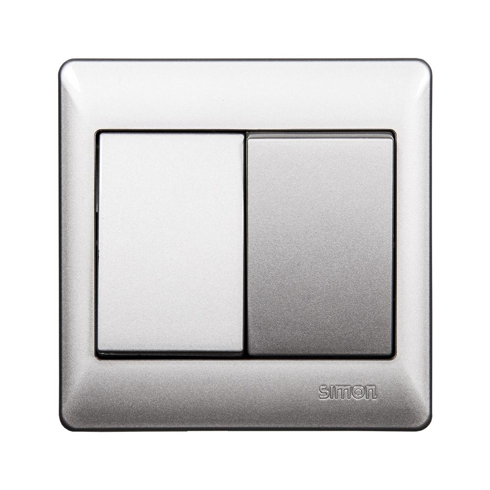 SIMON Switch, 2-Gang 1-Way, Silver #51021BS 1
