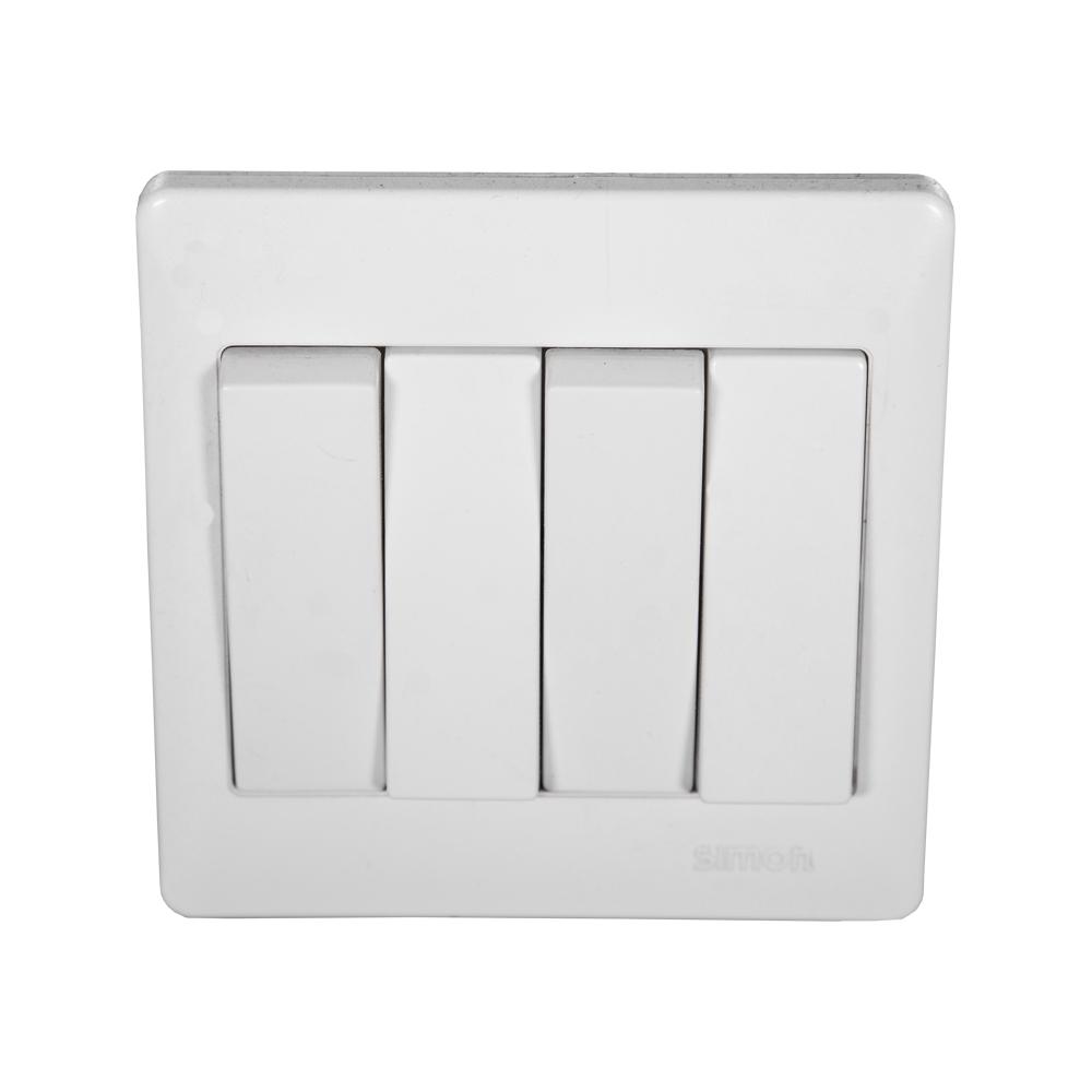 SIMON Switch, 4-Gang 2-Way, White #51042B 1