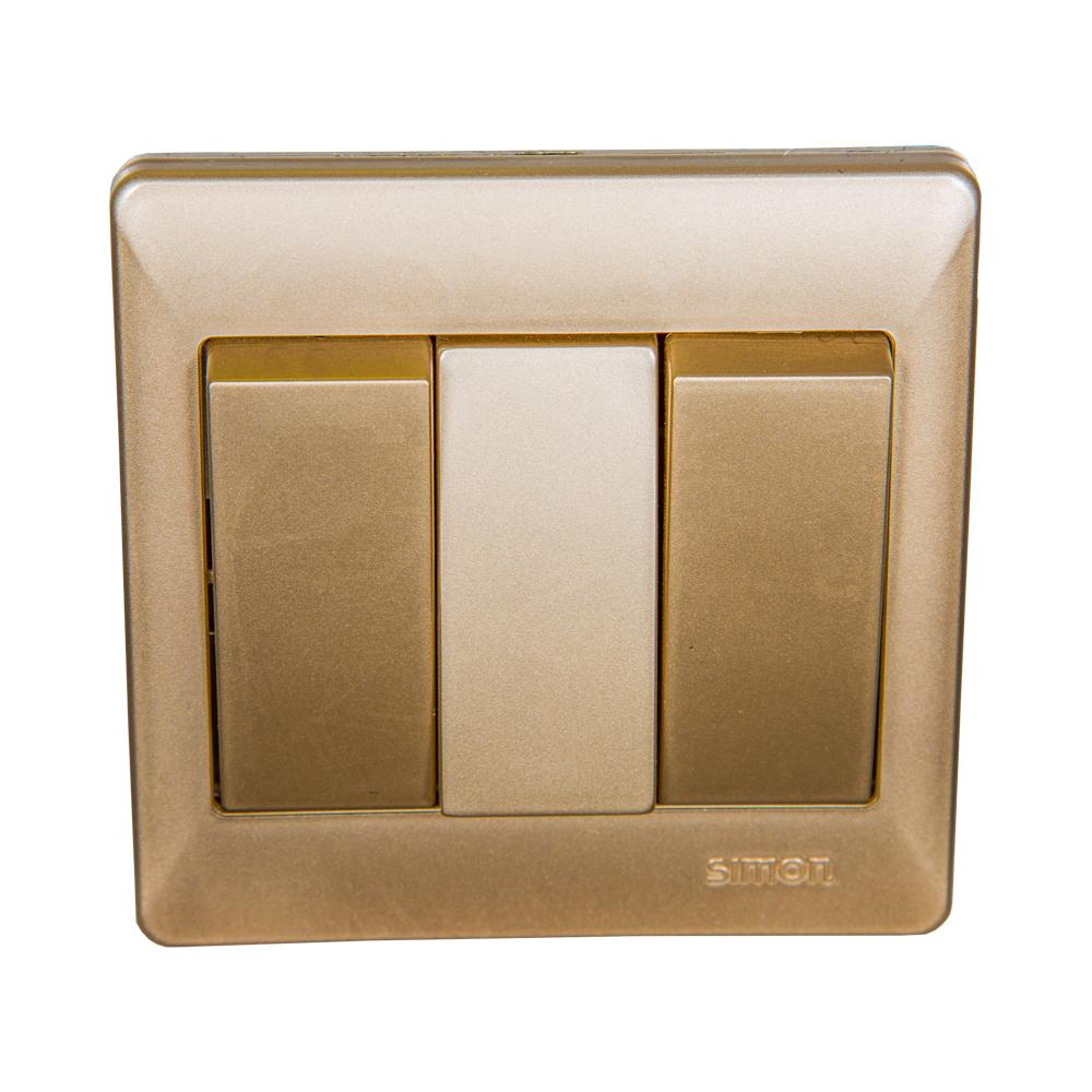 SIMON Switch, 3-Gang 2-Way, Champagne #51032BC 1