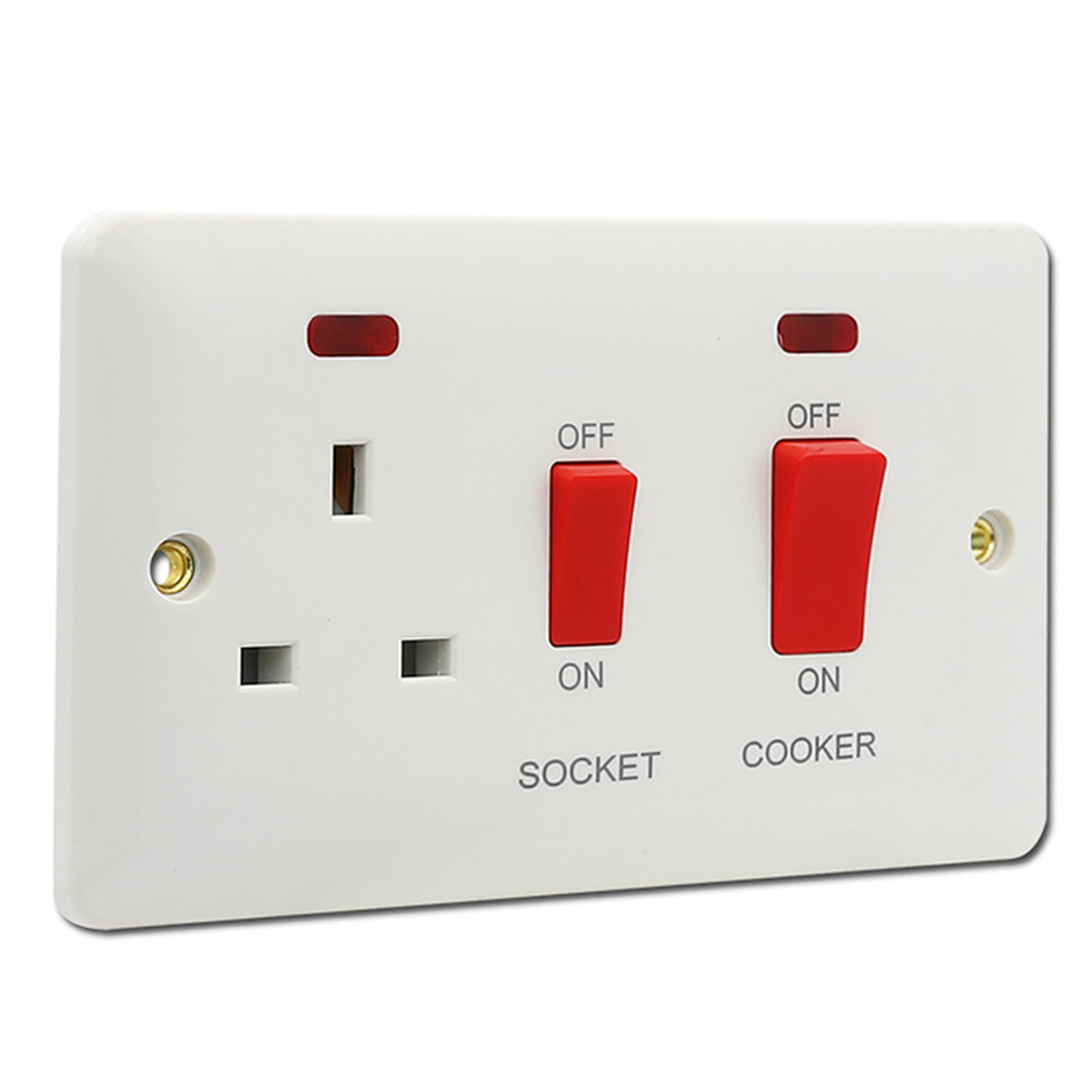 NEI: Maximus 45A Cooker Unit Switch With 13A Socket 1