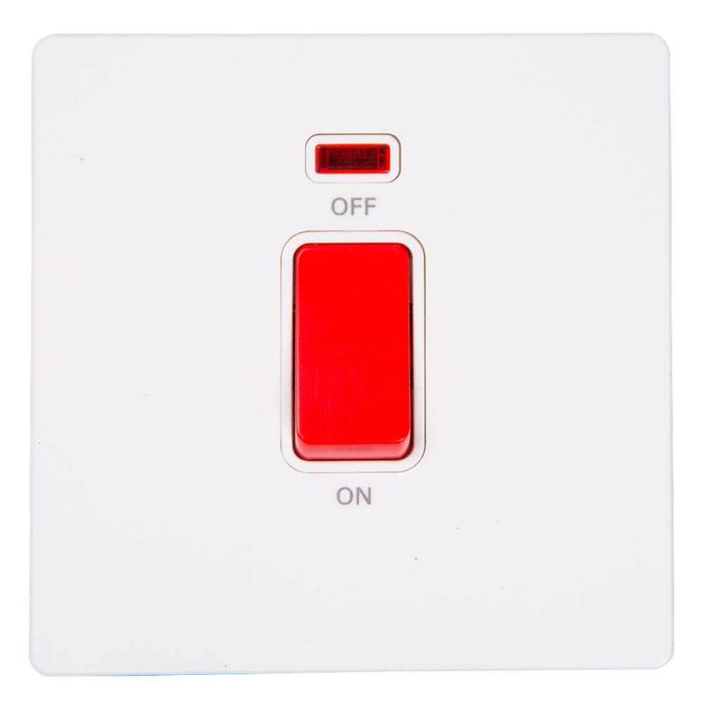 Domus: 1 Gang 20A DP Switch with Indicator; 20A,  250V #Q51K/2J-20 1
