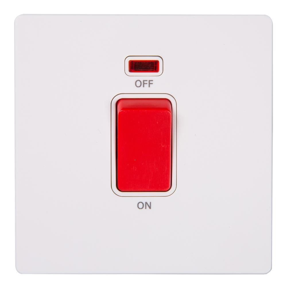 Domus: 1 Gang 32A DP Switch with Indicator; 32A,  250V #Q51K/2J-32 1