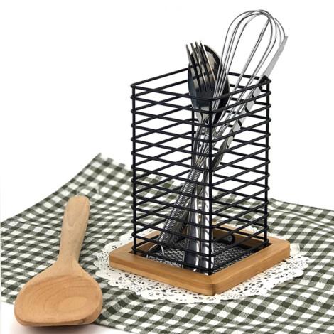 Bamboo/Iron Utensil Holder; (12x12x16)cm, Black 1