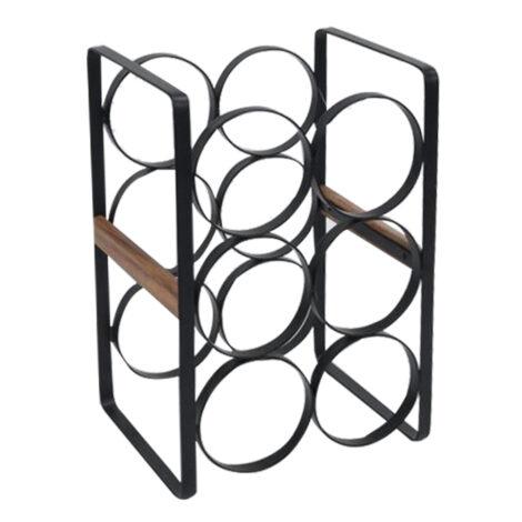 Metal/Wood Wine Rack With 6 Bottles; (33x18x22)cm, Black 1