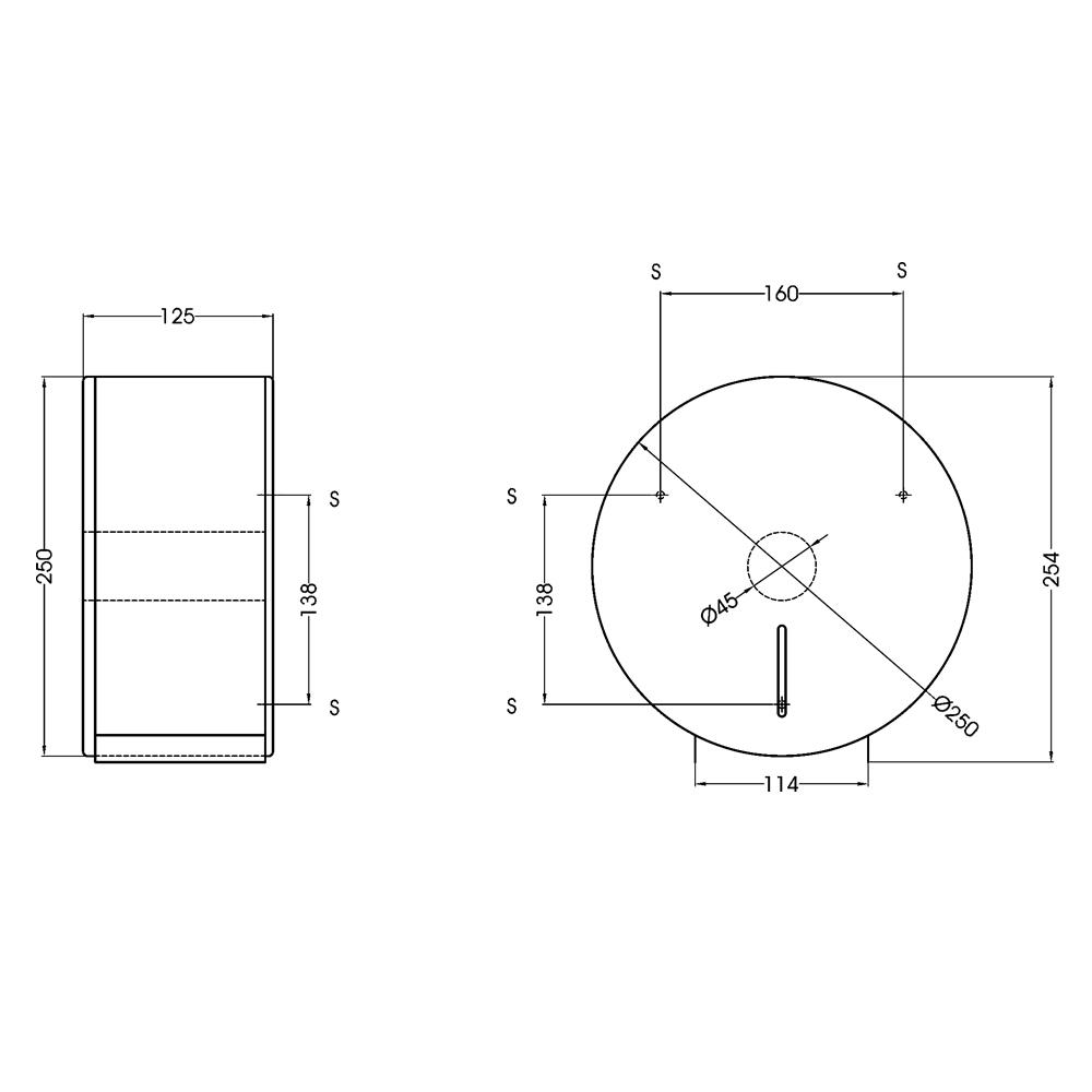 Mediclinics: Toilet Roll Dispenser: 250x125mm, Silver #PR0783CS