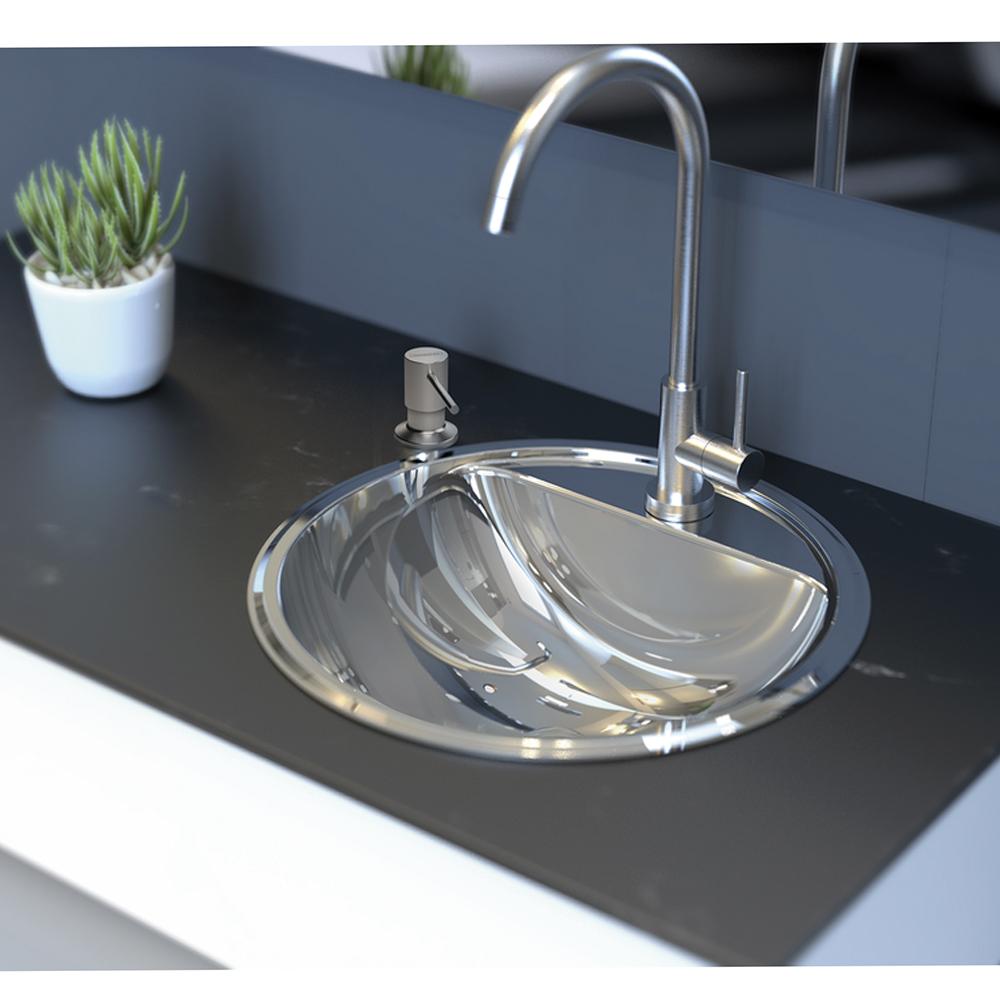 Tramontina: S/Steel Semi Circular Washbasin : SB, 34cm Mirror Polished #94122207