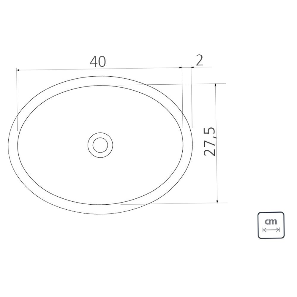 Tramontina: S/Steel Oval Washbasin : SB, 40cm Mirror Polished #94116207