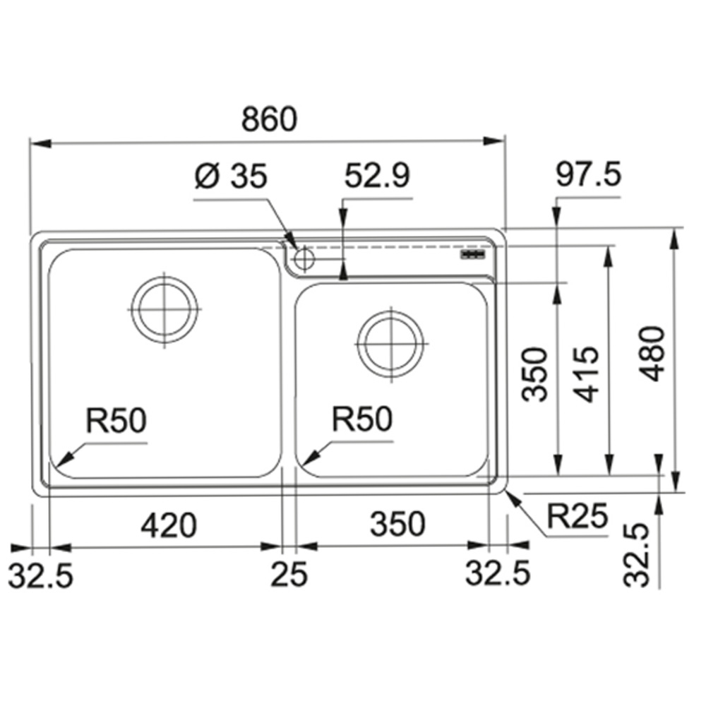 Franke: Bell BCX 620-42-35 SS Inset Double Bowl Kitchen Sink + Waste Set; 48X79cm #1220027/1120129/132/092/073