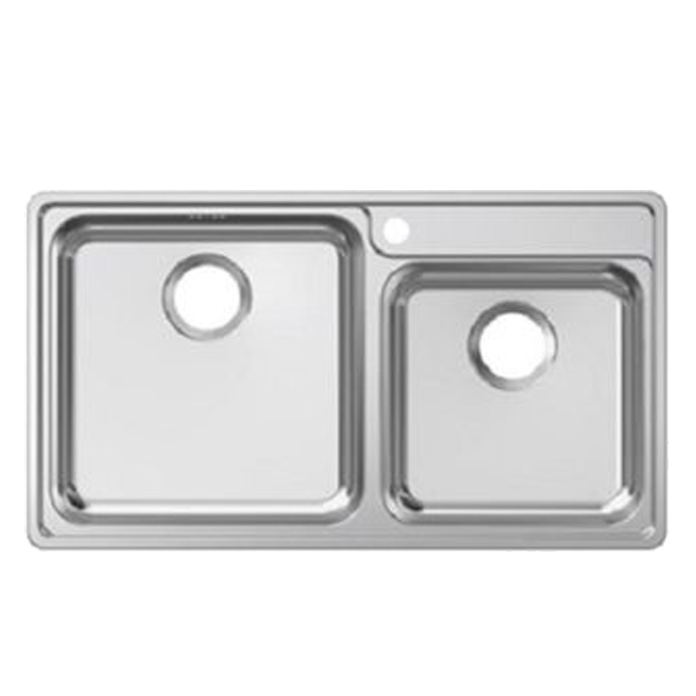 Franke: Bell BCX 120-42-35 SS Inset Double Bowl Kitchen Sink + Waste Set; 46.5X84