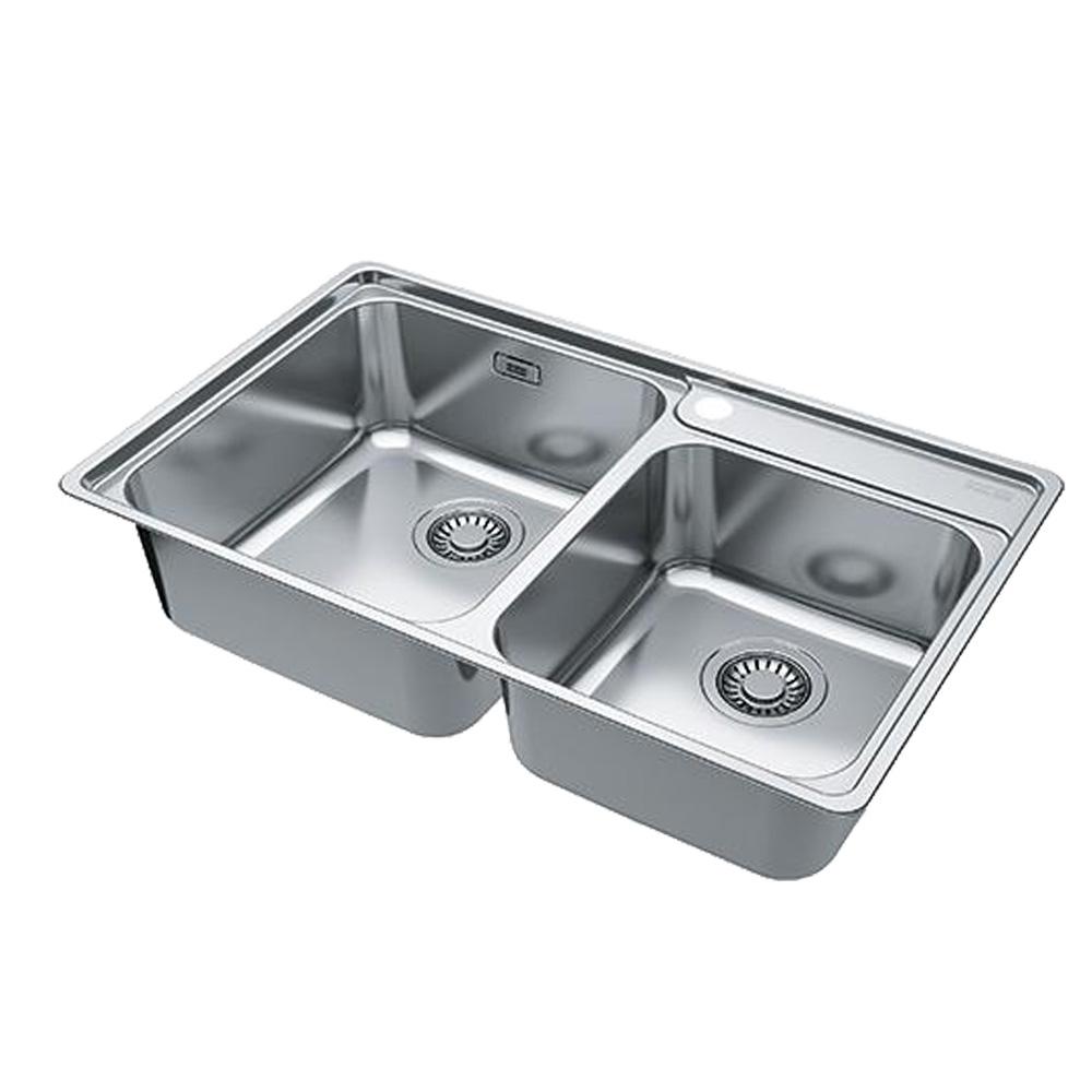 Franke: Bell BCX 120-42-35 SS Inset Double Bowl Kitchen Sink + Waste Set; 46.5X84.5cm #1220034/1120129/132/072/073
