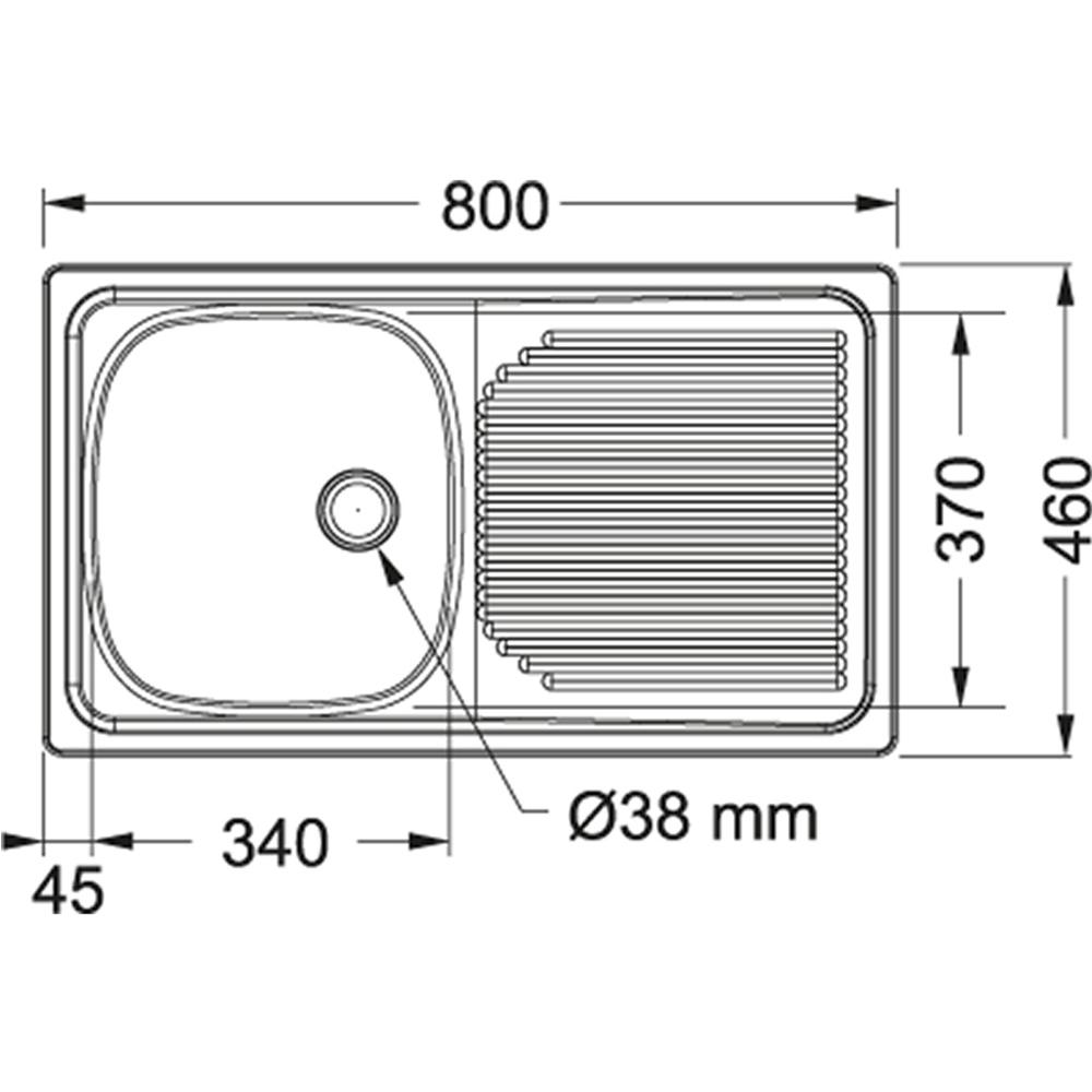 Franke: Projectline SS Sink With Waste: SB/SD, 80x46cm #PLN611/1120017/302021