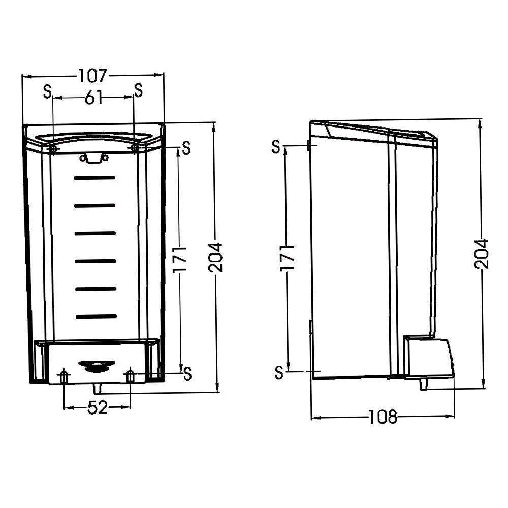 Medigel : Soap Dispenser 1.1L: ABS, Black/Clear #DJ0020F