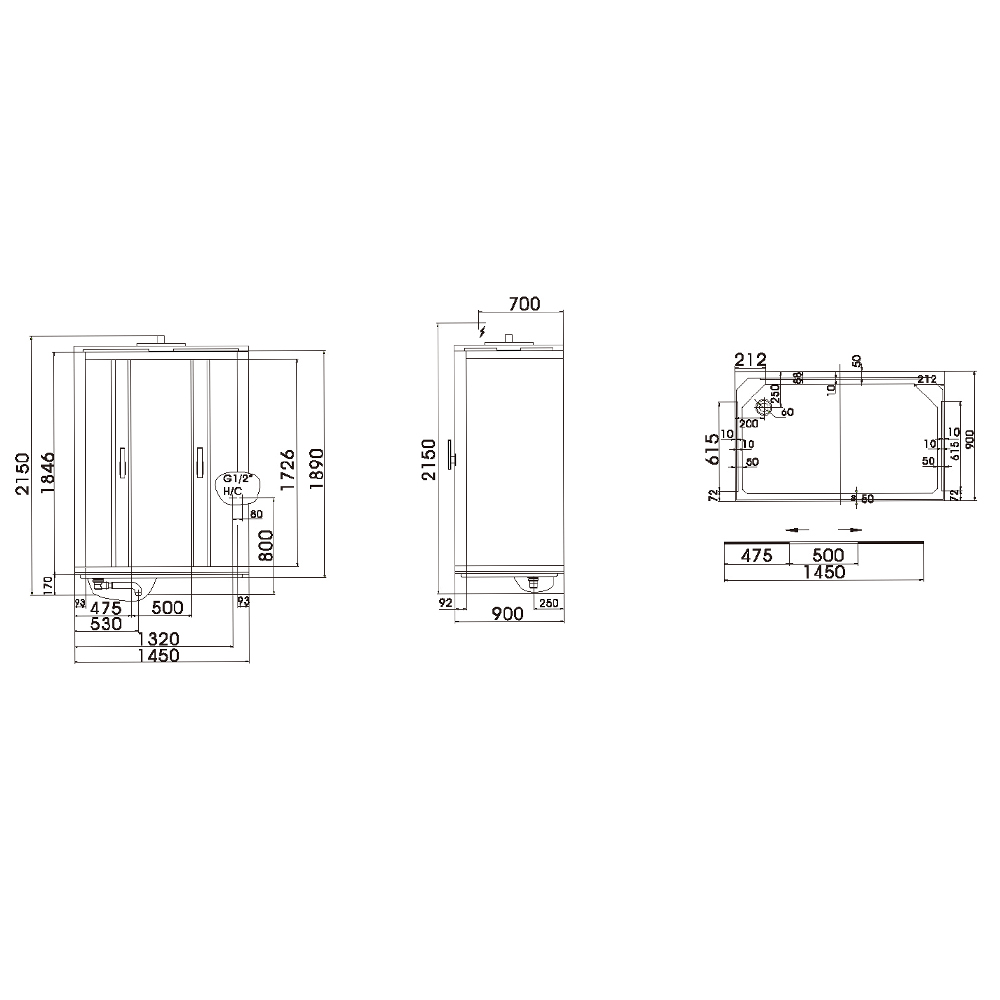 CRW: Steam Shower Cubicle With Radio, Fan, Seat, Foot Massage; 145x90x215cm #AE007R