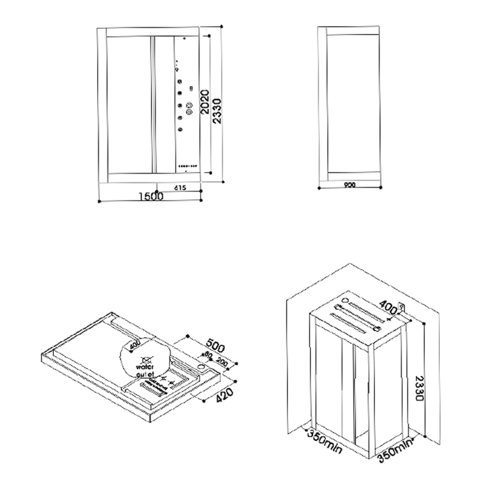 CRW: Steam Shower Cubicle With Radio, Phone,  Fan, Thermostatic Mixer; 150x90x233cm #AA0002H