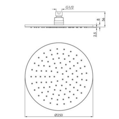 Miro Italy: Stainles Steel Round Shower Head; 25cm, Matt Black