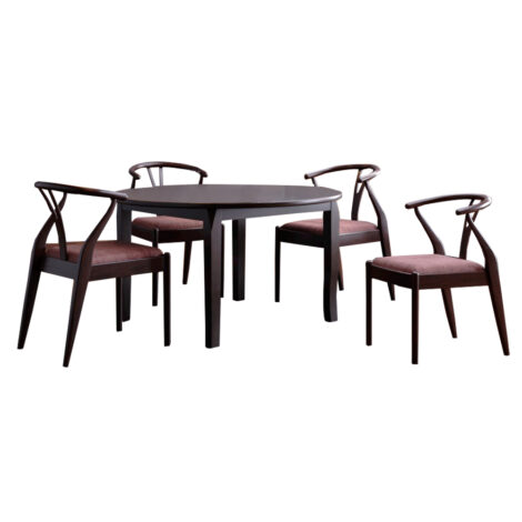 Round Dining Table (76x100x100)cm + 4 Side Chairs 1