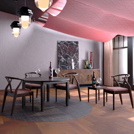 Round Dining Table (76x100x100)cm + 4 Side Chairs