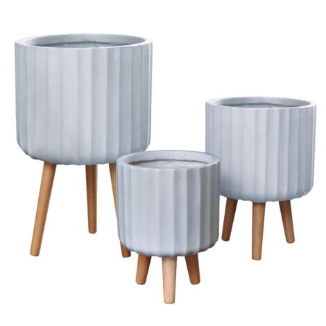 Fibre Clay Pot: Large (36x36x58)cm, Anti White
