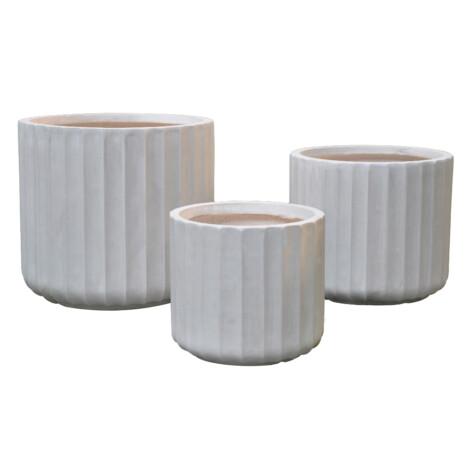 Fibre Clay Pot: Large (36x36x32)cm, Anti White