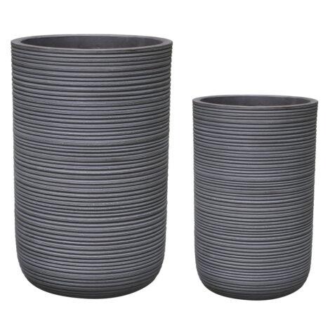 Fibre Clay Pot: Large (37x37x56.5)cm, Anti Grey