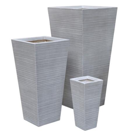 Fibre Clay Pot: Large (42x42x88)cm, Anti White