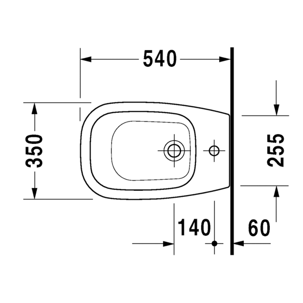 D-Code: Bidet, 54cm, 1Tap Hole: White