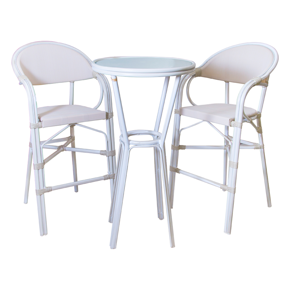 Round Bar Table (Glass Top) + 2 Bar Chairs, Grey/White Wash 1