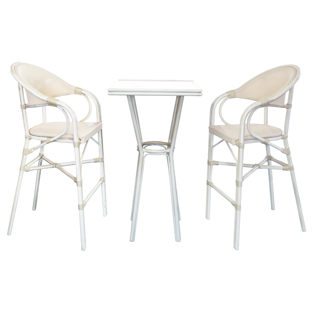 Square Bar Table; 60x60x110cm (Glass Top) + 2 Bar Chairs, Grey/White Wash 1