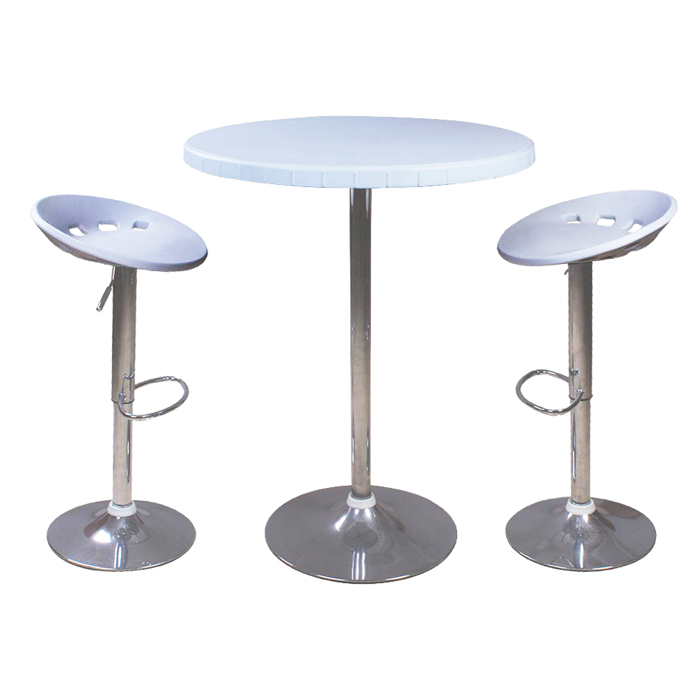Round Bar Table, (80×110)cm + 2 Bar Chairs 1