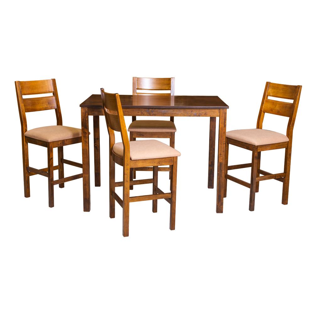 Bar Table + 4 Bar Chairs; Dark Oak 1