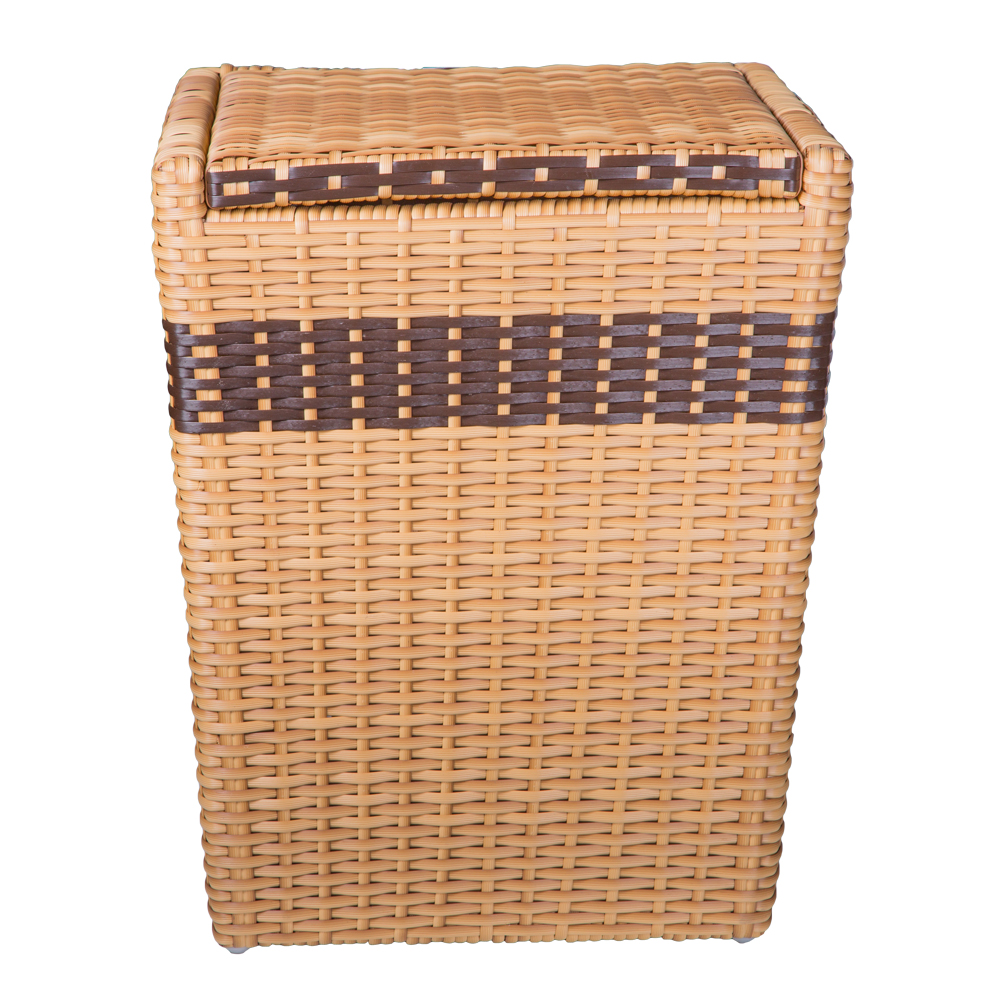 Rattan Laundry Basket With Lid, Light Brown 1