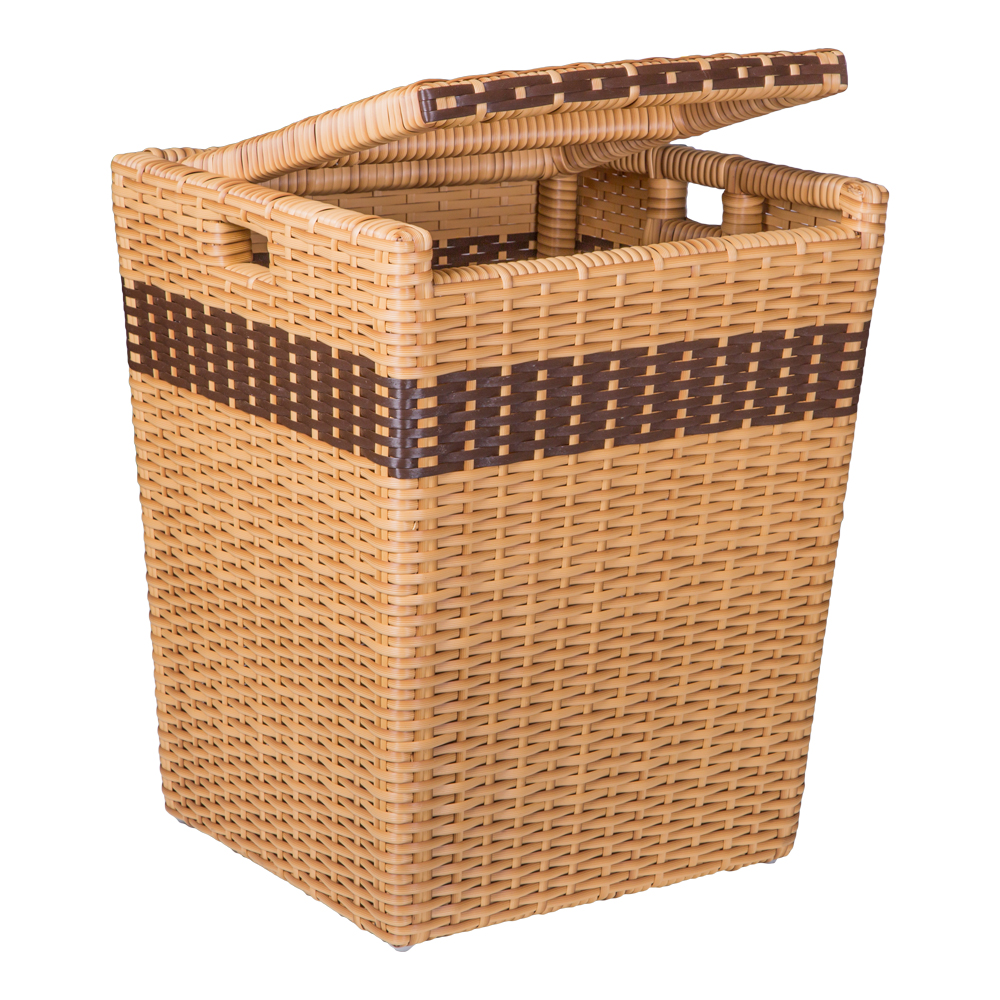 Rattan Laundry Basket With Lid, Light Brown