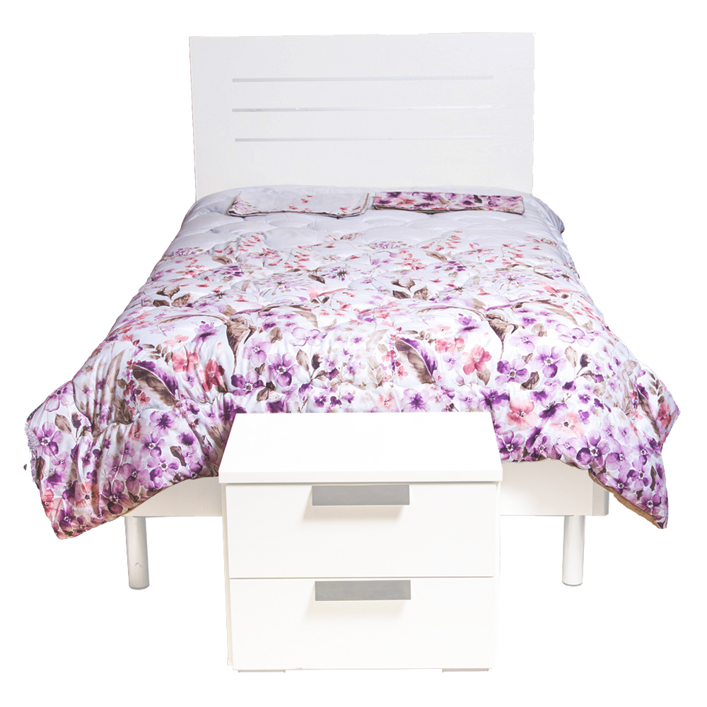 Wood Bed; (120×200)cm + 1 Night Stands, White 1