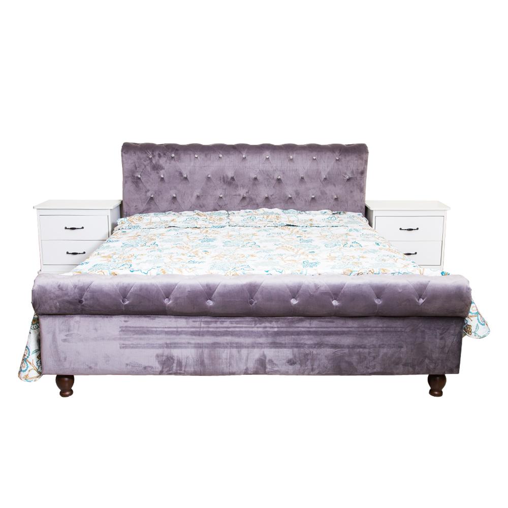 Wood Bed; (182×202)cm + 2 Night Stands, Dark Grey/Cement 1