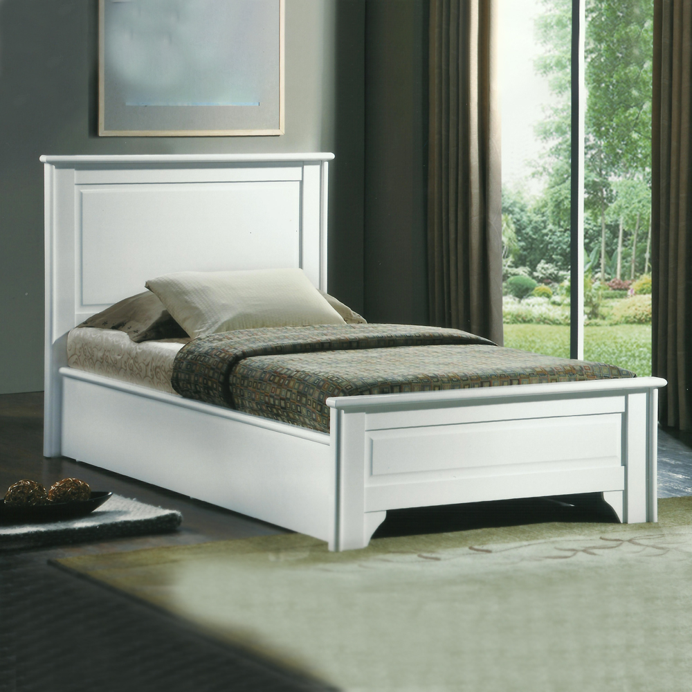 Single Bed 1/2White + 1 Side Table, White