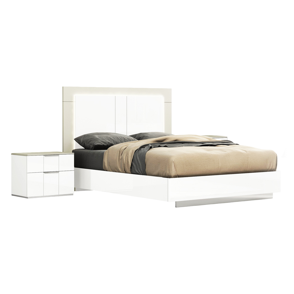 Queen Bed (153 x 203)cm + 2 Night Stands, White/Flannel Grey 1