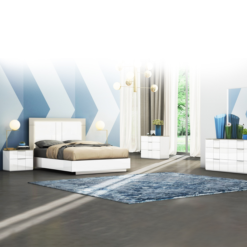 Queen Bed (153 x 203)cm + 2 Night Stands, White/Flannel Grey